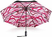 Intelligent begleitet von Sonnenschutz schwarz Regenschirm doppelte Schicht Falten Regenschirm Regenschirme Anti-UV Sonnenschirm weiblich ( Farbe : Pink )