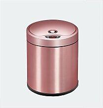 Intelligente große Induktion Mülleimer mit Cover Creative Mülleimer (Rose Gold) ( größe : 8L )