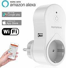 intelligente WLAN Steckdose von HOMEMAXS - Smart WiFi Steckdose funktioniert mit Amazon Alexa - Kontrollieren Sie Ihre Geräte von überall mit der kostenlosen App - UL mit Zeiteinstellungsfunkti