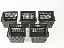 Inter Flower - 5 Set L Pflanzkörbe Wasserpflanzen 18x18x12cm/für Gartenteich - gut geeignet für Teichplfanzen wie Seerosen/Kunststoff/Teichpflanzen Korb, Gartenteich Wasserpflanzen