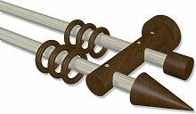 Interdeco Gardinenstange Metall / Holz in Chrom