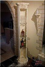 InterDecorShop Griechische Vitrine Säule Säulenvitrine Säulenregal Bar Regal Rundregal 204cm