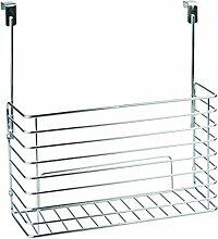 InterDesign 48810EU Classico Aufbewahrungskorb zum Hängen über den Küchenschrank für Schneidebretter, Backbleche/Backformen, Stahl, chrom, 34.9 x 13.2 x 36.1 cm