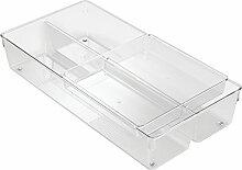 Interdesign 63930EU Linus 2-stufiger Schubladen Organizer zum Aufbewahren von Besteck, Utensilien, Kosmetika, Bürobedarf, durchsichtig