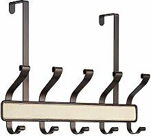 InterDesign 64941EU Lauren 10-er Hakenleiste zum Hängen über die Tür für Mäntel, Hüte, Bademäntel, Handtücher - Plastik, creme/bronze, 46.228 x 10.1854 x 29.0068 cm