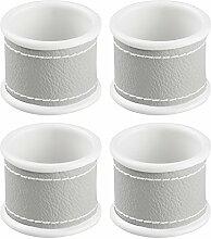InterDesign 65476EU Lauren Serviettenringe für Zuhause, Küche, Esszimmer - 4 Stück, Edelstahl, grau/weiß, 9.4 x 4.4 x 10.05 cm