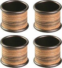 InterDesign 90338EU RealWood Serviettenringe für Zuhause, Küche, Esszimmer - 4 Stück, Edelstahl, bronze/rosenholz-Finish, 4.445 x 4.445 x 3.5052 cm