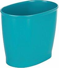 InterDesign 93738EU Kent Ovaler Mülleimer Papierkorb für Bad, Küche, Büro - türkis, Plastik, Teal, 30, 5 x 20, 3 x 25, 4 cm