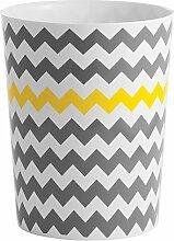 InterDesign Chevron Bad-Mülleimer, kleiner Abfalleimer aus Kunststoff, weiß/grau/gelb