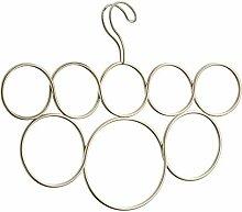 InterDesign Classico Schalbügel mit 8 Ringen, Hängeorganizer für Schals, Krawatten, Gürtel, Pashminas und Co. aus Metall, perlgold