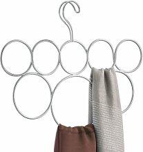 InterDesign Classico Schalbügel mit 8 Ringen, Hängeorganizer für Schals, Krawatten, Gürtel, Pashminas und Co. aus Metall, mattsilberfarben