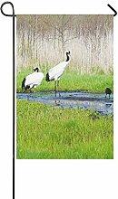 interestprint Japanische Kraniche Vogel Polyester Garten Flagge Haus Banner 30,5x 45,7cm, asiatische Deko Flagge für Party Yard Home Outdoor Decor