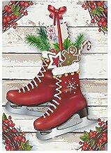 interestprint Vintage Christmas Weihnachts Stiefel mit Geschenk Polyester Garten Flagge Haus Banner 30,5x 45,7cm, Winter neue Jahr Fahne Deko Urlaub für Party Yard Home Outdoor Decor, Polyester, Mehrfarbig 2, 28x40