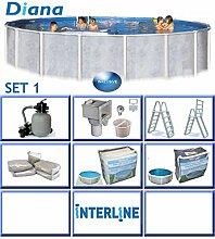 Interline 50000035 Diana Auf- und Erdeinbau POOLSET 1 Stahlwandpool 3,60m x 1,32m mit Sandfilter Set 4,0m³/h
