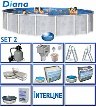 Interline 50000044 Diana Auf- und Erdeinbau POOLSET 2 Stahlwandpool 5,50m x 1,32m mit Sandfilter Set 6,0m³/h