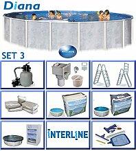 Interline 50000045 Diana Auf- und Erdeinbau POOLSET 3 Stahlwandpool 5,50m x 1,32m mit Sandfilter Set 6,0m³/h