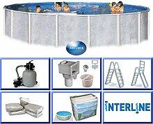 Interline 55000050 Diana Auf- und Erdeinbau Stahlwandpool 3,60m x 1,32m mit Sandfilter Set 4,0m³/h