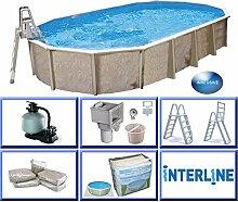 Interline 55000055 Diana Auf- und Erdeinbau Stahlwandpool 8,50m x 4,90m x 1,32m mit Sandfilter Set 8,0m³/h