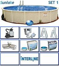 Interline 55000111 rund Pool POOLSET 1 Sunlake Durchmesser 3,60m, Tiefe 1,32m, Komplett Set 4m³/h, Wasserinhalt ca. 12m³