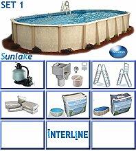 Interline 55000121 oval Pool POOLSET 1 Sunlake Durchmesser 6,10m x 3,60m, Tiefe 1,32m, Komplett Set 6m³/h, Wasserinhalt ca. 21m³