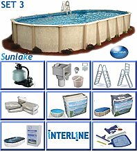Interline 55000131 oval Pool POOLSET 3 Sunlake Durchmesser 8,50m x 4,90m, Tiefe 1,32m, Komplett Set 8m³/h, Wasserinhalt ca. 39m³