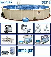 Interline 55000136 rund Pool POOLSET 2 Sunlake Durchmesser 5,50m, Tiefe 1,32m, Komplett Set 6m³/h, Wasserinhalt ca. 29m³