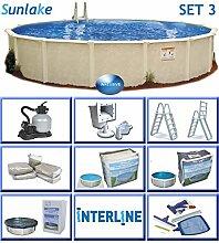 Interline 55000137 rund Pool POOLSET 3 Sunlake Durchmesser 5,50m, Tiefe 1,32m, Komplett Set 6m³/h, Wasserinhalt ca. 29m³