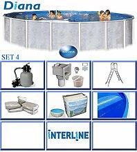 Interline Diana Auf- und Erdeinbau POOLSET 4 Stahlwandpool 4,90m x 1,32m mit Sandfilter Set 4,0m³/h inkl. Edelstahlleiter und 400µ Solarplane