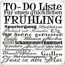 INTERLUXE 20x20cm METALLSCHILD TO-DO LISTE FRÜHLING Geschenk Dekoration