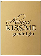 Interluxe 30x22cm Gold Wandschild Always KISS ME