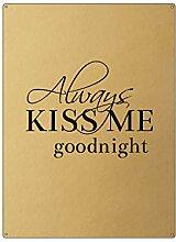 Interluxe 30x22cm Gold Wandschild Always KISS ME