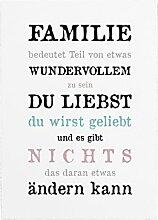 INTERLUXE 42x30cm Shabby Holzschild FAMILIE