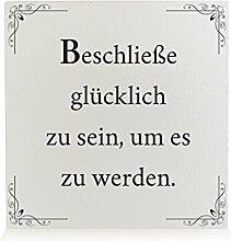 Interluxe HOLZBLOCK Shabby BESCHLIESSE GLÜCKLICH