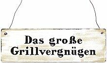 INTERLUXE Holzschild DAS GROSSE GRILLVERGNÜGEN