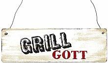 INTERLUXE Holzschild GRILLGOTT Mann Geschenk Grill