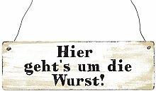 INTERLUXE Holzschild HIER GEHTS UM DIE WURST Grill