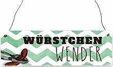 Interluxe Holzschild Shabby WÜRSTCHENWENDER Grill