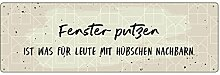 Interluxe METALLSCHILD Blechschild Fenster PUTZEN