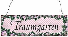 INTERLUXE Türschild Holzschild TRAUMGARTEN Frühling Geschenk Shabby Dekoration Dekoschild