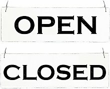 Interluxe Vintage Shabby Schild Türschild Open