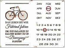 Interluxe WANDKALENDER Blechschild Kalender DAS