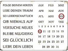INTERLUXE WANDKALENDER Blechschild Kalender FOLGE DEINEM HERZEN Shabby Vintage Geschenk Dekoration Haus Wohnung