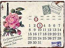 Interluxe WANDKALENDER Blechschild Kalender Paris
