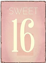 Interluxe WANDSCHILD Metallschild Sweet 16