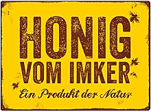 Interluxe WANDSCHILD Shabby Blechschild Honig VOM