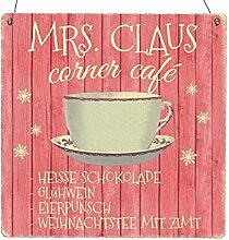 Interluxe XL Holzschild MRS. Claus Corner CAFÉ