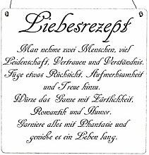 Interluxe XL Vintage Shabby Schild DEKOSCHILD LIEBESREZEPT Holzschild Geschenkidee Hochzeit Landhaus