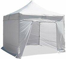 INTEROUGE - Pavillon Faltzelt 3x3m mit 4 Seitenwände in polyester 300g/m² mit PVC-beschichtet - Aluminium Zelt Marktstand Marktzelt Gartenzelt Messestand - Weiß
