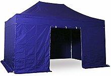 INTEROUGE - Pavillon Faltzelt 3x4,5m mit 4 Seitenwände in polyester 300g/m² mit PVC-beschichtet - Aluminium Zelt Marktstand Marktzelt Gartenzelt Messestand - Blau