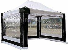 INTEROUGE - Pavillon Faltzelt 3x4,5m mit 4 Seitenwände in polyester 300g/m² mit PVC-beschichtet - Aluminium Zelt Marktstand Marktzelt Gartenzelt Messestand - Weiß und Schwarz